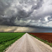Pick A Side - Colorful Fields Divided By Road On Stormy Day In Oklahoma. Art Print