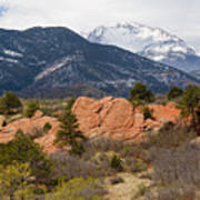 Pikes Peak From Red Rocks Canyon Art Print