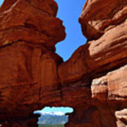 Pikes Peak Through Natural Window Art Print