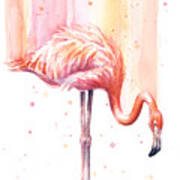 Pink Flamingo - Facing Right Art Print