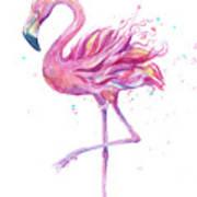 Pink Flamingo Watercolor Art Print