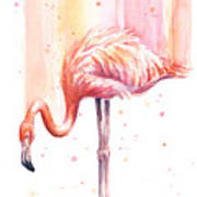 Pink Flamingo Watercolor Rain Art Print
