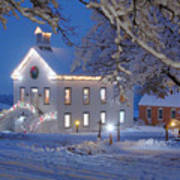 Pioneer Church At Christmas Time Art Print by Utah Images