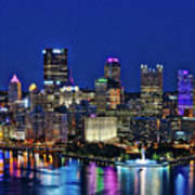 Pittsburgh Night Skyline Art Print