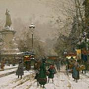 Place De La Republique In Winter Art Print