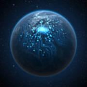 Planet With Illuminated Network Art Print