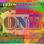 Pop-art Colorized One U. S. Dollar Bill Reverse Art Print