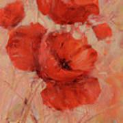 Poppy Flowers Handmade Oil Painting On Canvas Art Print