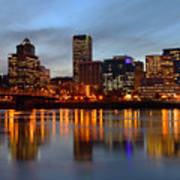 Portland Oregon At Dusk. Art Print by Gino Rigucci