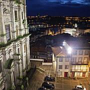 Porto By Night In Portugal Art Print