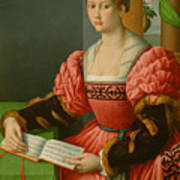 Portrait Of A Woman With A Book Of Music Art Print