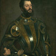 Portrait Of Alfonso D'avalos Marquis Of Vasto In Armor With A Page Art Print