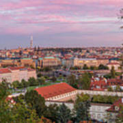 Prague Skyline At Sunset Art Print