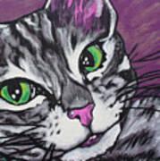 Purple Tabby Art Print by Sarah Crumpler