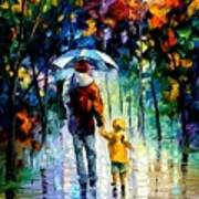 Rainy Walk With Daddy Art Print