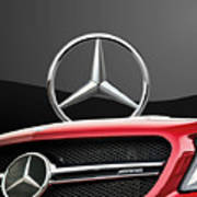 Red Mercedes - Front Grill Ornament And 3 D Badge On Black Print by Serge Averbukh