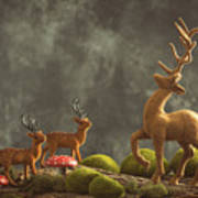 Reindeer Scene Art Print
