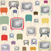 retro TV pattern  Art Print by Setsiri Silapasuwanchai