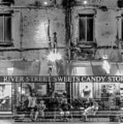 River Street Sweets Candy Store Black White  Art Print