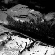 Rocky Mountains In Colorado With Snow Aerial Black And White Art Print