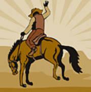 Rodeo Cowboy Bucking Bronco Art Print