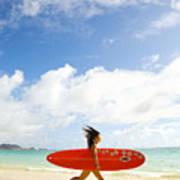Running With Surfboard Art Print