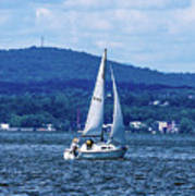 Sail Boat On The Hudson River Art Print