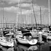 Sail Boats At San Francisco China Basin Pier 42 With The Bay Bridge In The Background . 7d7666 Print by Wingsdomain Art and Photography