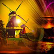 Sailing Romance Windmills Art Print