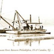 Salvage Barge, Delaware River, Philadelphia, C.1900 Art Print