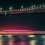 San Francisco Patry Ferry Casino Near Oakland Bay Bridge At Nigh Art Print