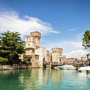 Scaligero Castle At The Entrence Of The Sirmione Medieval Town Art Print