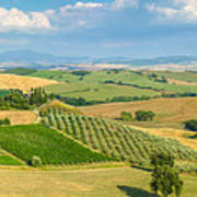 Scenic Tuscany Landscape At Sunset, Val D'orcia, Italy Art Print