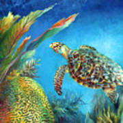 Sea Escape Iv - Hawksbill Turtle Flying Free Art Print