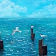 Seagull Seascape Art Print