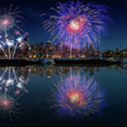 Seattle Skyline And Fireworks Art Print