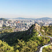Seoul City Wall From Inwangsan Mountain In South Korea Capital C Art Print