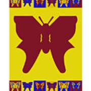 Serendipity Butterflies Brickgoldblue 5 Art Print