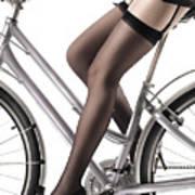 Sexy Woman Riding A Bike Art Print by Oleksiy Maksymenko