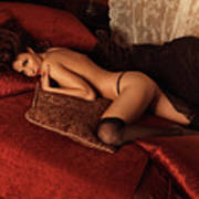 Sexy Young Woman Lying On A Bed Print by Oleksiy Maksymenko