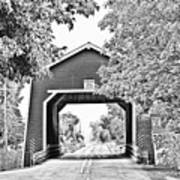 Shimanek Covered Bridge -surreal Bw Art Print