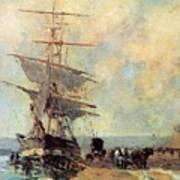 Ship In Harbour Rouen Albert-charles Lebourg Art Print