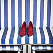 Shoes In A Beach Chair Art Print
