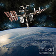 Shuttle Docked At Space Station Art Print