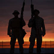 Silhouette Of U.s Marines On A Bunker Art Print