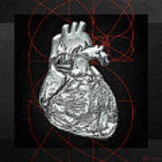 Silver Human Heart On Black Canvas Art Print by Serge Averbukh