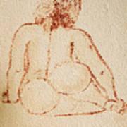 Sitting Fat Nude Woman Art Print