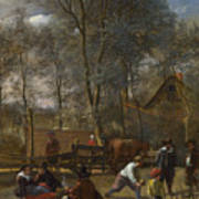 Skittle Players Outside An Inn Art Print