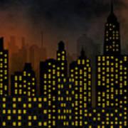 Skyscrapers - Panorama Of Modern Skyscraper Town Art Print