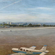 Small City Airport Plane Taking Off Art Print